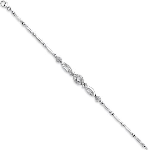 Ladies Sterling silver Fancy Cubic Zirconia bracelet 8.4g