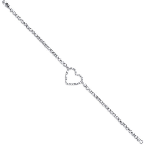 Ladies Sterling silver cut out heart Cubic Zirconia rubover tennis style bracelet 4g