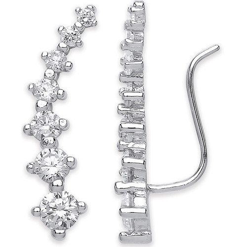 Sterling Silver four claw Cubic Zirconia Ear climber Earrings 2.2g
