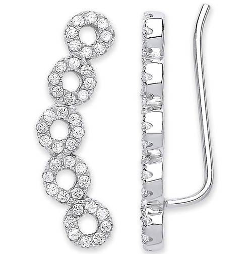 Sterling Silver cut out circle Cubic Zirconia Ear climber Earrings 2.5g
