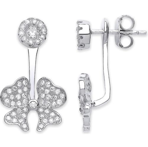 Sterling Silver Cubic Zirconia Bow Ear jacket stud earrings 4g