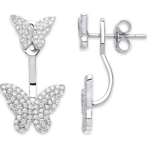 Sterling Silver Cubic Zirconia Butterfly Ear jacket stud earrings 4.1g