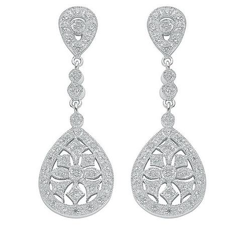 Sterling Silver Cubic Zirconia Pear shaped drop stud earrings 8.2g