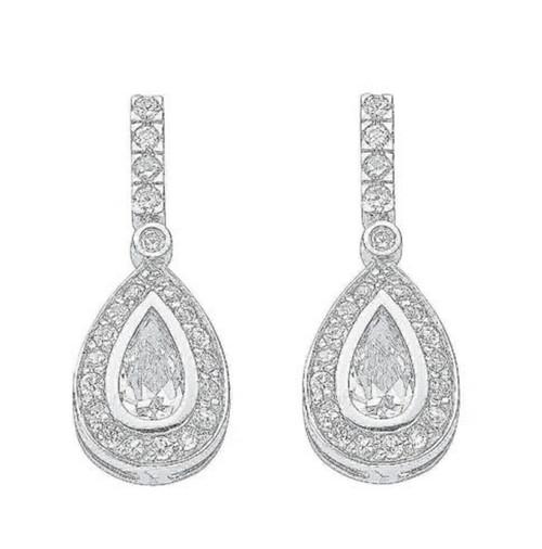 Sterling Silver Cubic Zirconia pear cut halo drop stud earrings 3.8g