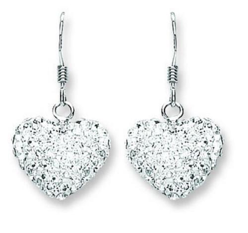 Sterling Silver Heart shaped white crystal hook in drop earrings