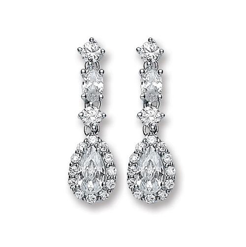 Sterling Silver Cubic Zirconia Pear cut Halo drop stud earrings 3.1g