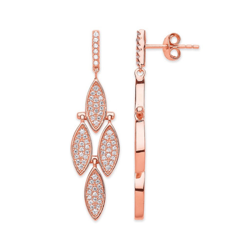 Rose gold plated Sterling Silver Micro pave Cubic Zirconia drop stud earrings 3g
