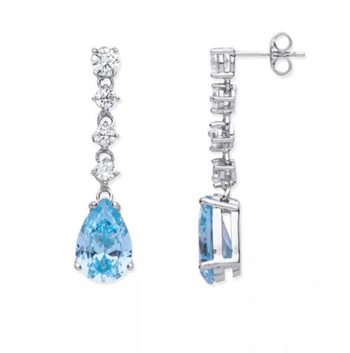 Large Sterling Silver Clear and Aquamarine pear cut Cubic Zirconia drop stud earrings 5.2g