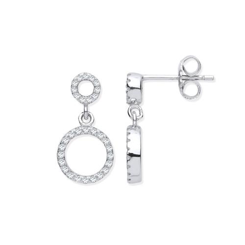 Sterling Silver Cubic Zirconia double circle drop stud earrings 3g