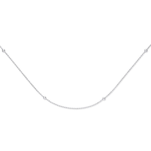 18 inch Sterling Silver 2mm thick Rope chain with beads 6.7g