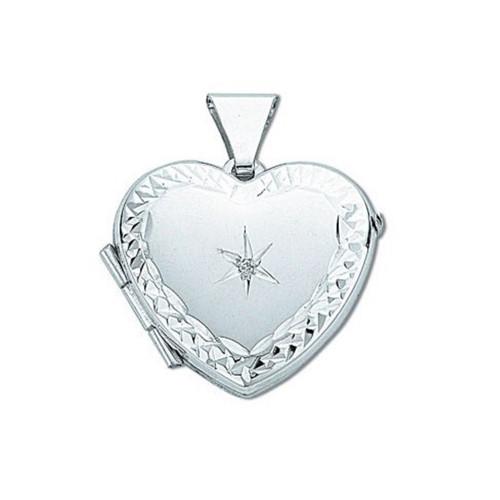 Sterling Silver heart shaped diamond set locket
