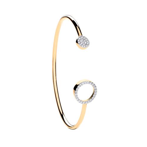 9ct Gold Cubic Zirconia Kids circle torque bangle 5.2g