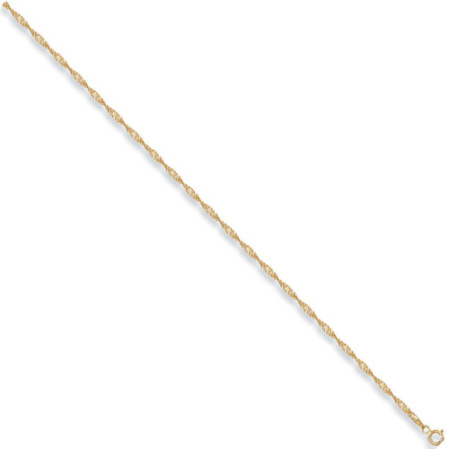 """10"""" 9ct Gold twisted curb singapore style anklet chain 2g"""