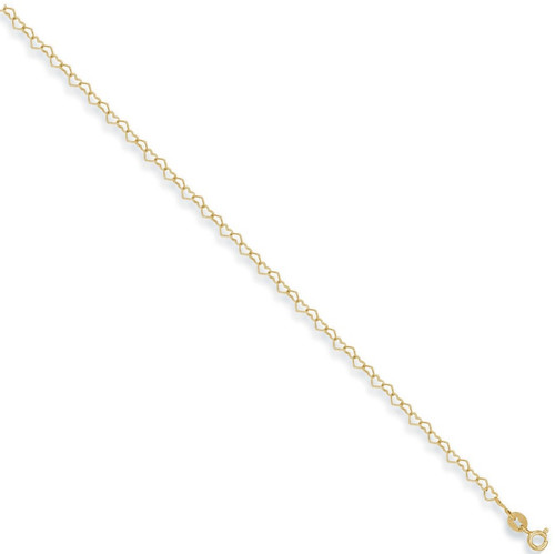 """10"""" 9ct Gold heart shaped anklet chain 1.7g"""