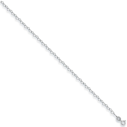 """10"""" 9ct White gold heart shaped anklet chain 1.7g"""