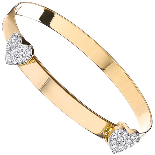 9ct Gold expanding bangle with hearts