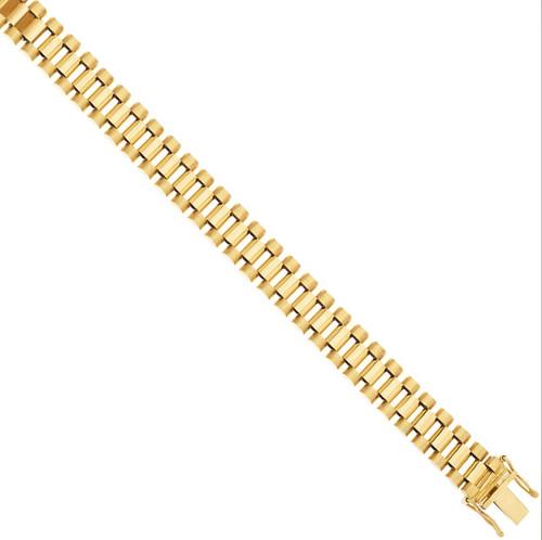 6 inch 10mm Kids 9ct Gold Flat watch strap style Bracelet 26g