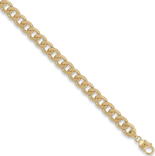 Gents 8.5 inch 9ct Gold 10.5mm thick curb Bracelet 29.5g
