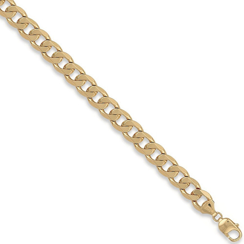 Gents 8.5 inch 9ct Gold 11mm thick curb Bracelet 35g