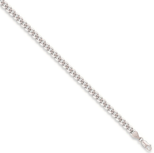 Ladies 7.5 inch 9ct White Gold 3mm thick curb Bracelet 2g