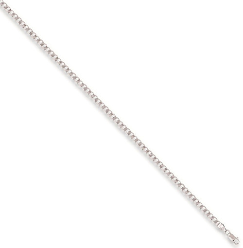 Ladies 7.5 inch 9ct White Gold 3.5mm thick curb Bracelet 3.3g
