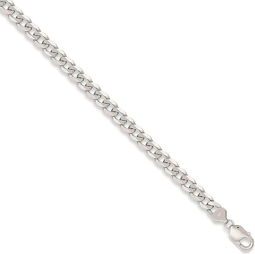 Ladies 7.5 inch 9ct White Gold 7mm thick curb Bracelet 18g