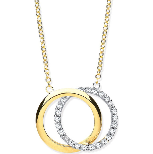 """16"""" - 18"""" 9ct Gold Double Circle Cubic Zirconia Necklace 2.7g"""