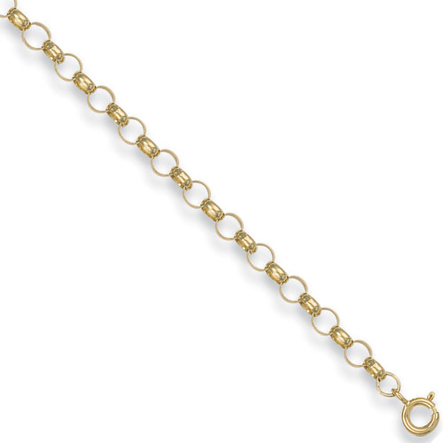 """22"""" 56cm 4.5mm thick 9ct gold round link belcher chain 12.1g"""
