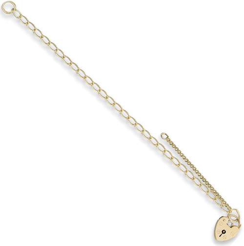 7.5 inch 9ct Gold Ladies Oval link curb Charm Bracelet 3.1g