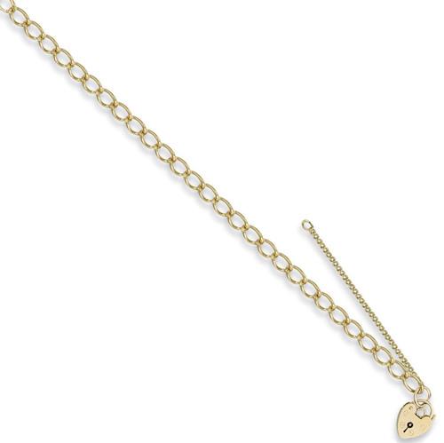 7.5 inch 9ct Gold Ladies 4.5mm Curb link Charm Bracelet 7g