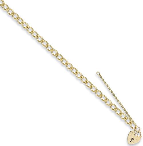 7.5 inch 9ct Gold Ladies 5mm Curb link Charm Bracelet 12.8g