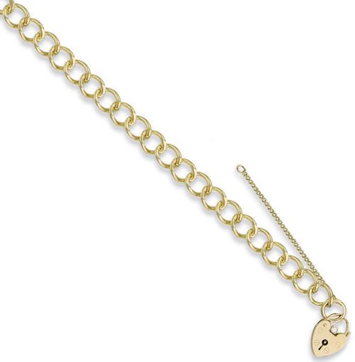 7.5 inch 9ct Gold Ladies 9mm Curb link Charm Bracelet 20g