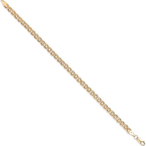 Ladies 7.5 inch 9ct Gold double link curb Bracelet 3.2g