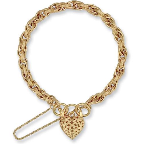 Ladies 7.5 inch 9ct Gold Prince of wales Heart Padlock Bracelet 9g