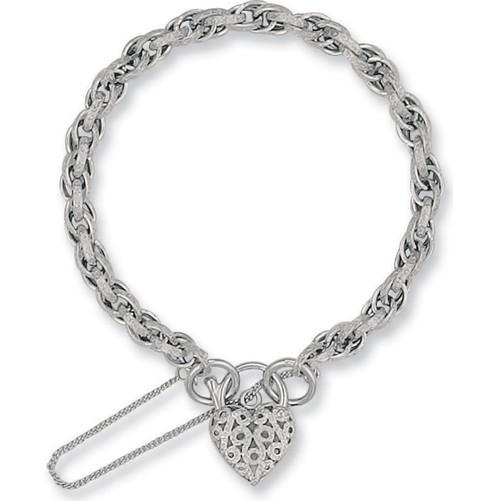 Ladies 7.5 inch 9ct White Gold Prince of wales Heart Padlock Bracelet 9g