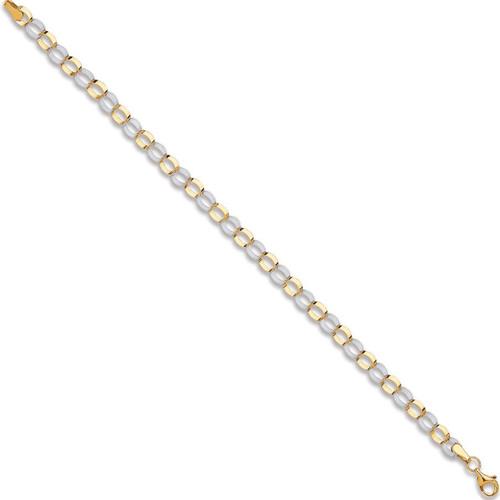 Ladies 7.5 inch two colour 9ct Gold Oval link Belcher Bracelet 2.2g