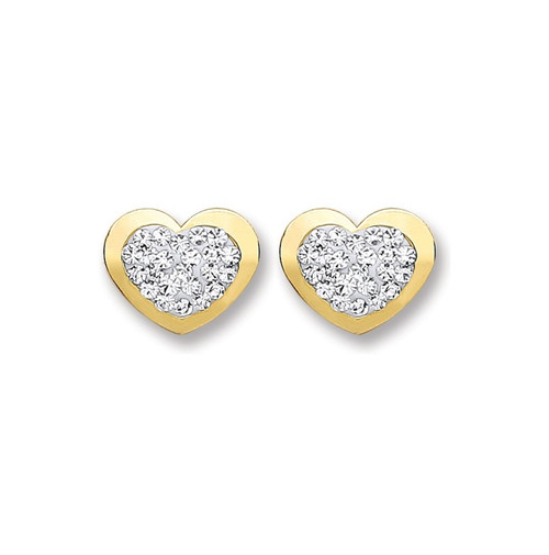 9ct Gold Heart shaped White crystal stud Earrings