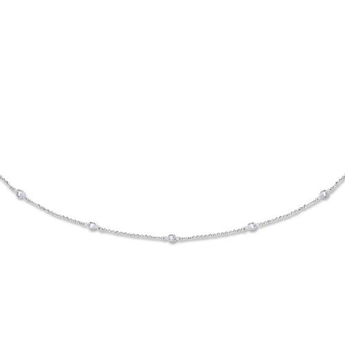 7.5 Inch Ladies 9ct White Gold rubover cubic zirconia Bracelet 2.3g