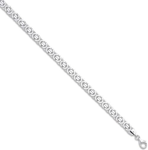 8.5 inch Gents 7mm 9ct White Gold Byzantine Bracelet 20.5g