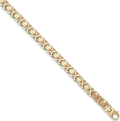 8.5 inch 9mm Gents 9ct Gold Flat Byzantine Bracelet 35g
