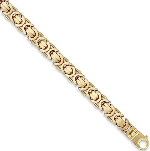 8.5 inch 12mm Gents 9ct Gold Flat Byzantine Bracelet 62g