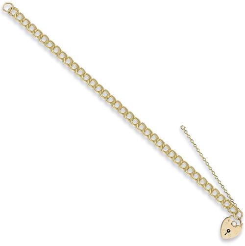 7.5 inch 9ct Gold Ladies 7mm double link Charm Bracelet 12.5g