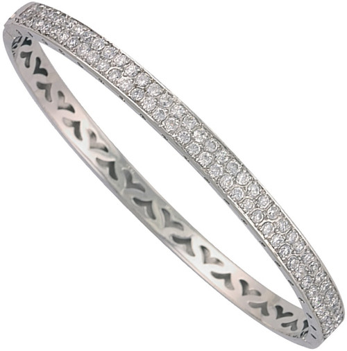 Ladies 9ct White gold Cubic Zirconia double row Hinged bangle 13.7g