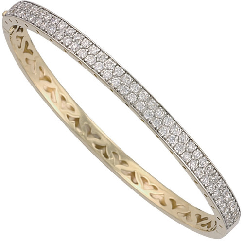 Ladies 9ct gold Cubic Zirconia double row Hinged bangle 13g