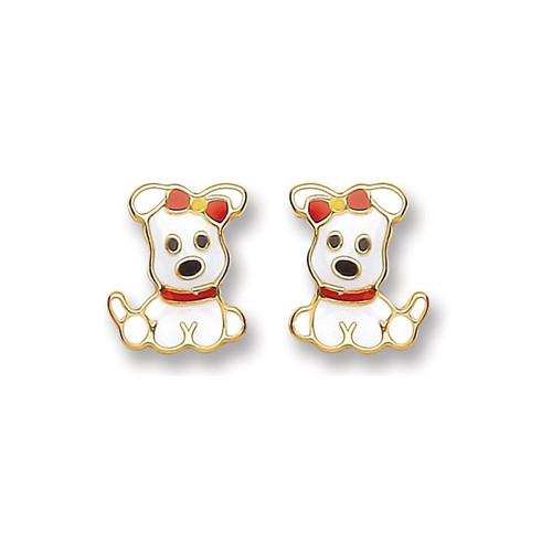 9ct Gold enamelled Puppy stud Earrings