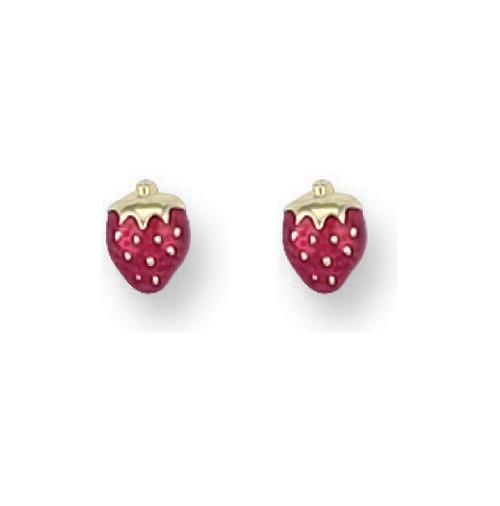9ct Gold enamelled Strawberry stud Earrings