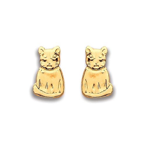 9ct Gold plain cat stud Earrings
