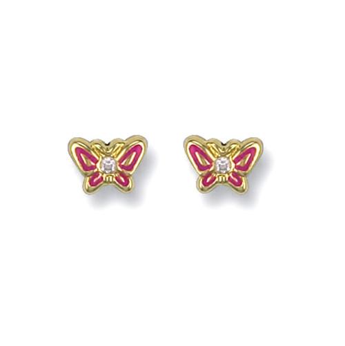 9ct Gold Enamelled cubic zirconia butterfly stud Earrings