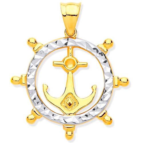 9ct two colour Gold Anchor in ships wheel Pendant 1.2g