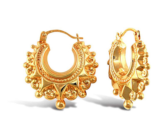 9ct Yellow gold Victorian spike creole Earrings